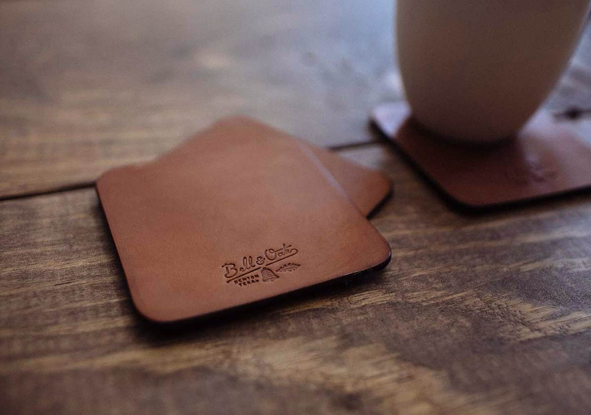 Texas Tan Leather Coasters